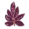 Motif Sequin & Beads Leaves Fuchsia 9X7.5cm